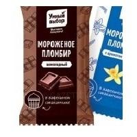 Мороженое «Умный выбор» пломбир шоколадный на вафлях
